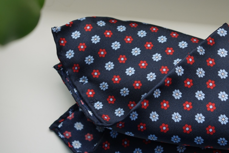 Floral Silk Pocket Square - Navy Blue/Light Blue/Red