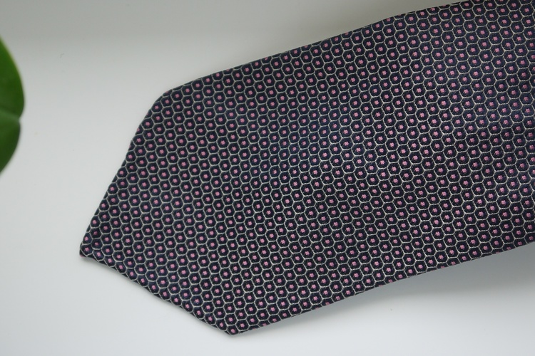 Floral Silk Tie - Untipped - Navy Blue/Pink