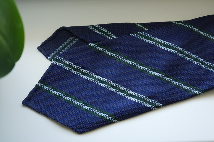 Regimental Silk Tie - Untipped - Mid Blue/Light Blue/Green