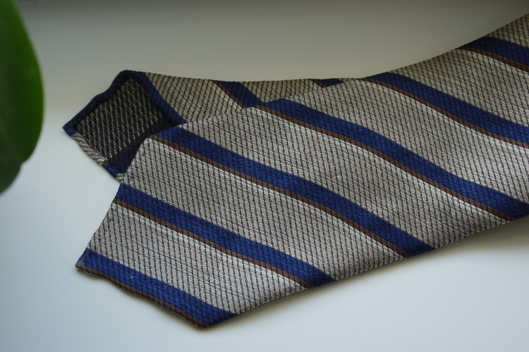 Regimental Wool/Silk Tie - Untipped - Beige/Navy Blue