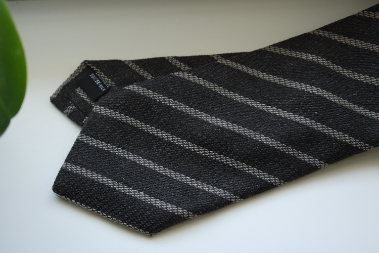 Regimental Cashmere/Silk Tie - Dark Grey/Light Grey