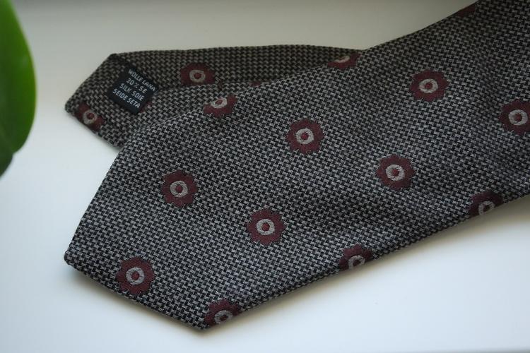 Floral Wool/Silk Tie - Beige/Burgundy