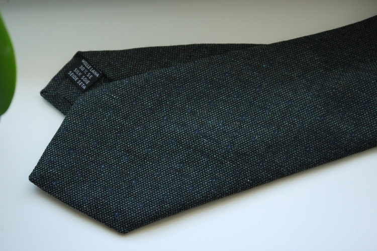Small Floral Wool/Silk Tie - Dark Green