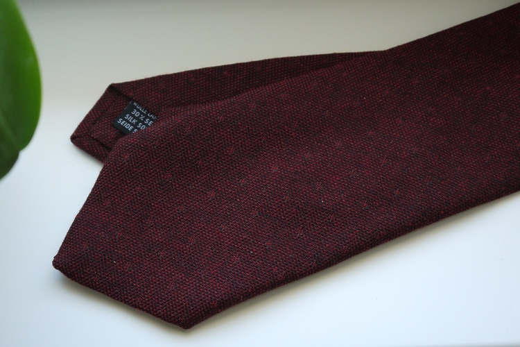 Small Floral Wool/Silk Tie - Burgundy