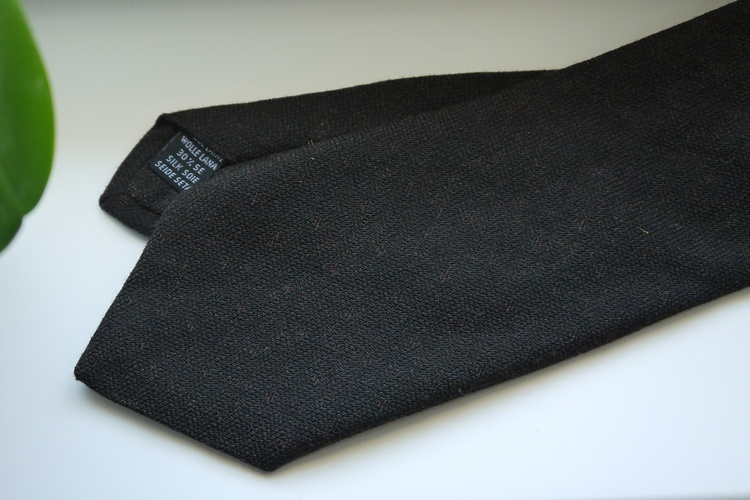 Small Floral Wool/Silk Tie - Brown