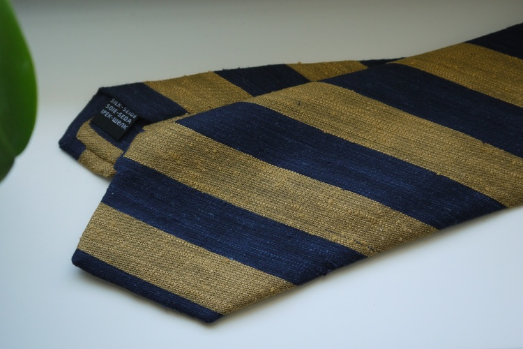 Regimental Shantung Tie - Yellow/Navy Blue