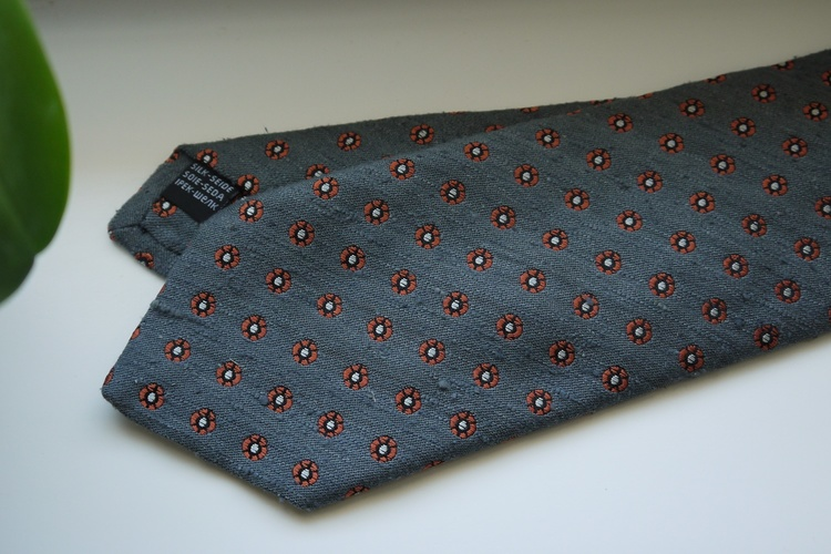 Small Floral Shantung Tie - Grey/Orange