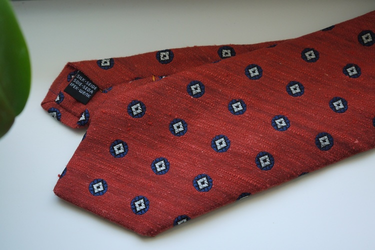 Floral Shantung Tie - Orange/Navy Blue
