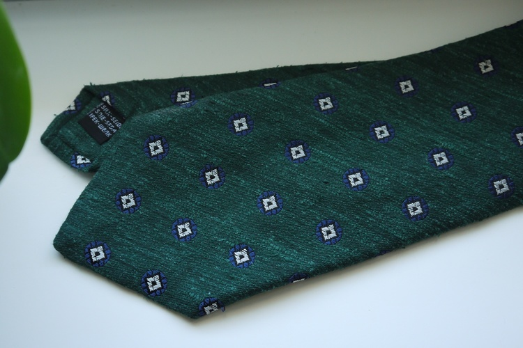 Floral Shantung Tie - Dark Green/Navy Blue