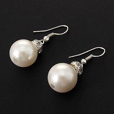 Örhänge droppe med vit pärla
