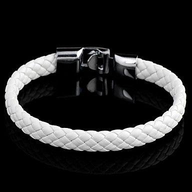 Läderarmband flätad vit
