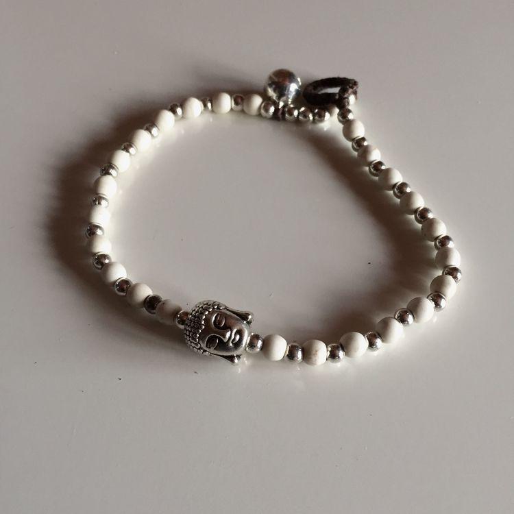 Armband Budha Vit/Silver