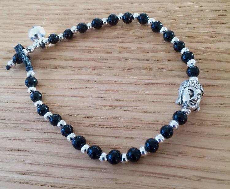 Armband Budha Svart/Silver
