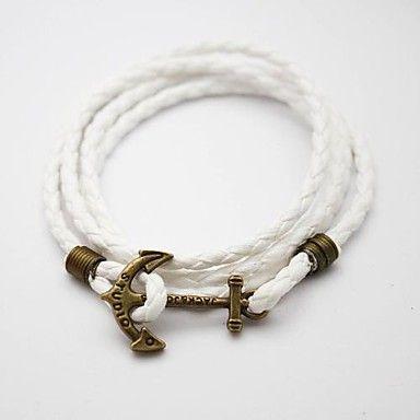 Vintage ankare armband vit