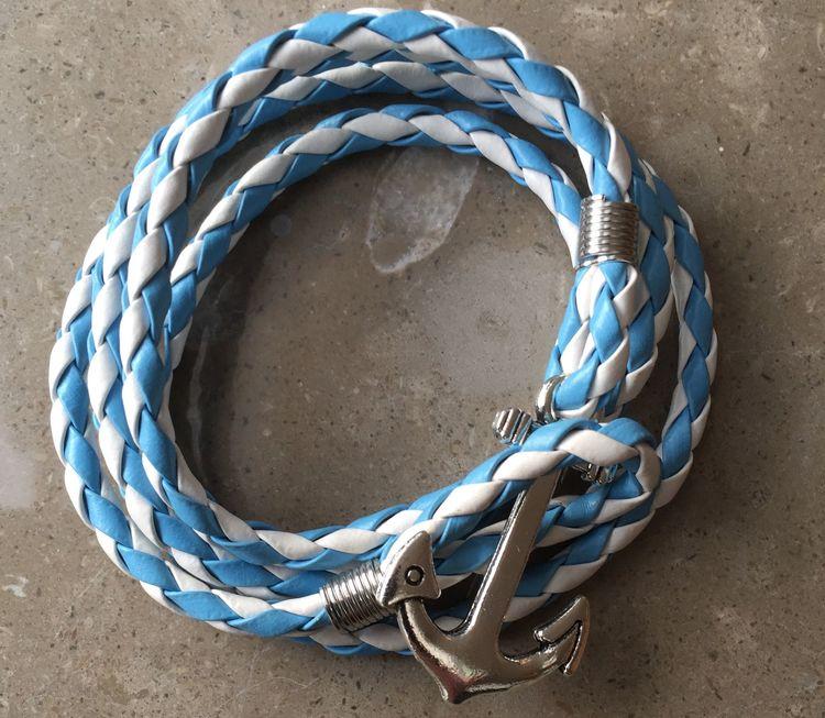 Vintage ankare armband blå och vit