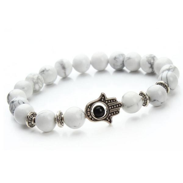 White Hamsa Silver Armband