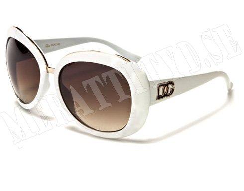DG Cateye Deluxe - Vit/Guld - Solglasögon