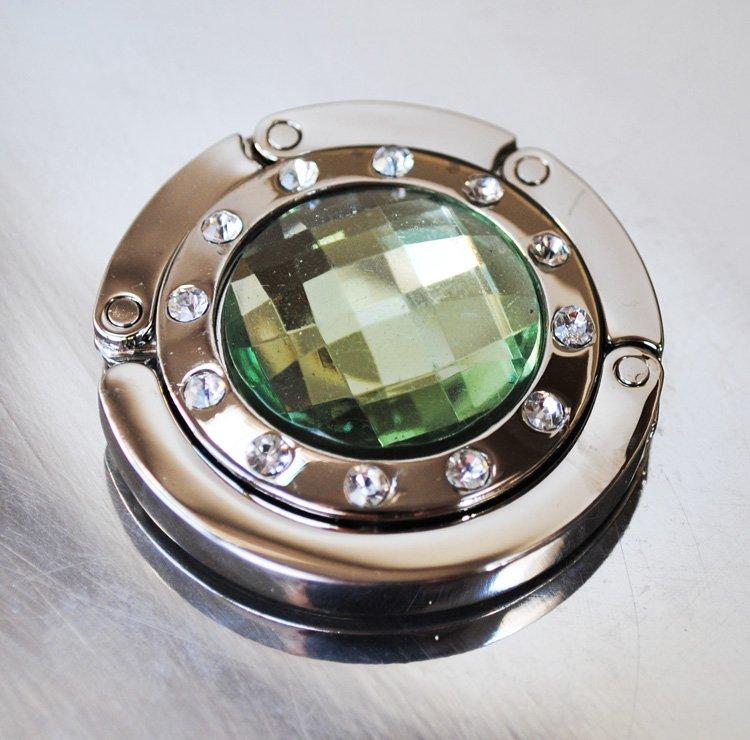 Väskhängare i silver och grön