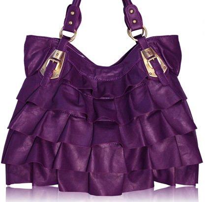 Ruffel elegant - handväska - purpur