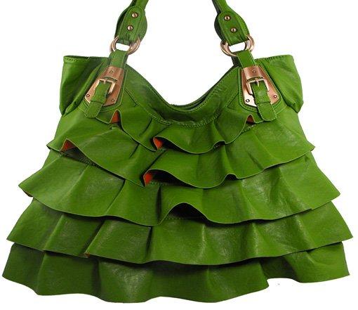 Ruffel elegant - handväska - grön