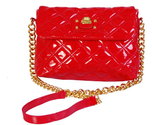 Goldchain - quiltad handväska - röd