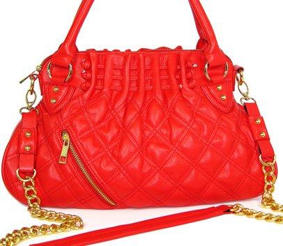 Golden rocker - quiltad handväska - röd