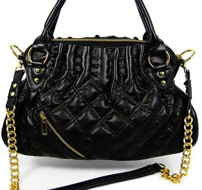 Golden rocker - quiltad handväska - svart