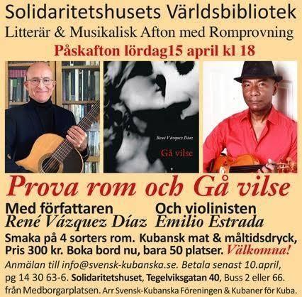 Litterär och musikalisk afton på Solidaritetshuset i Stockholm.