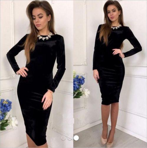 Long Sleeve Velvet Dress Black