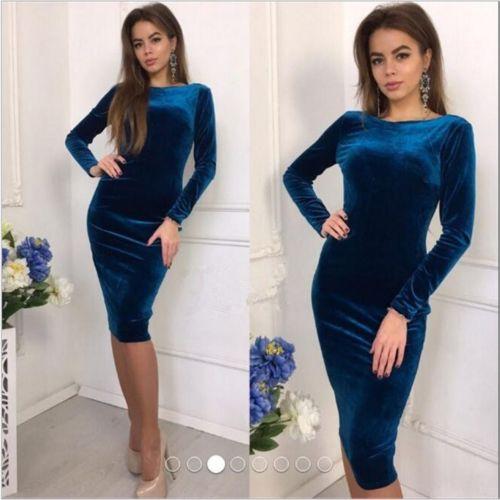 Long Sleeve Velvet Dress Royal Blue
