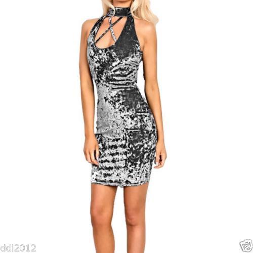 Sexy Velvet Dress Gray