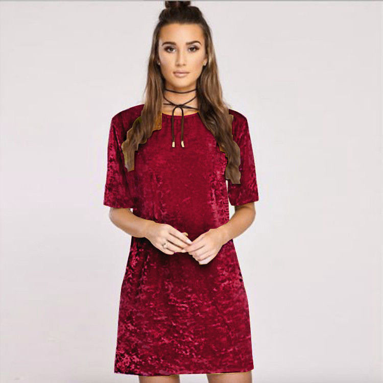 Loose Velvet Dress Wine Red