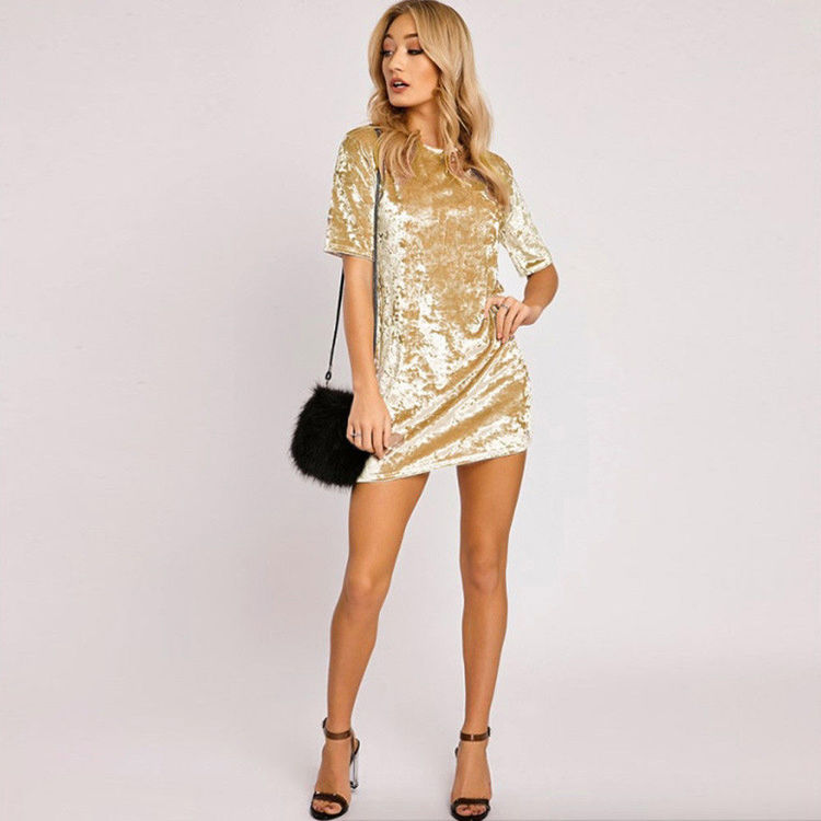 Loose Velvet Dress Gold