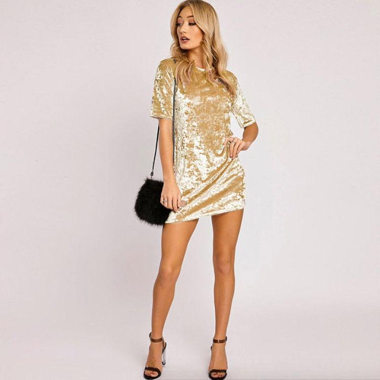 Loose Velvet Dress Gold