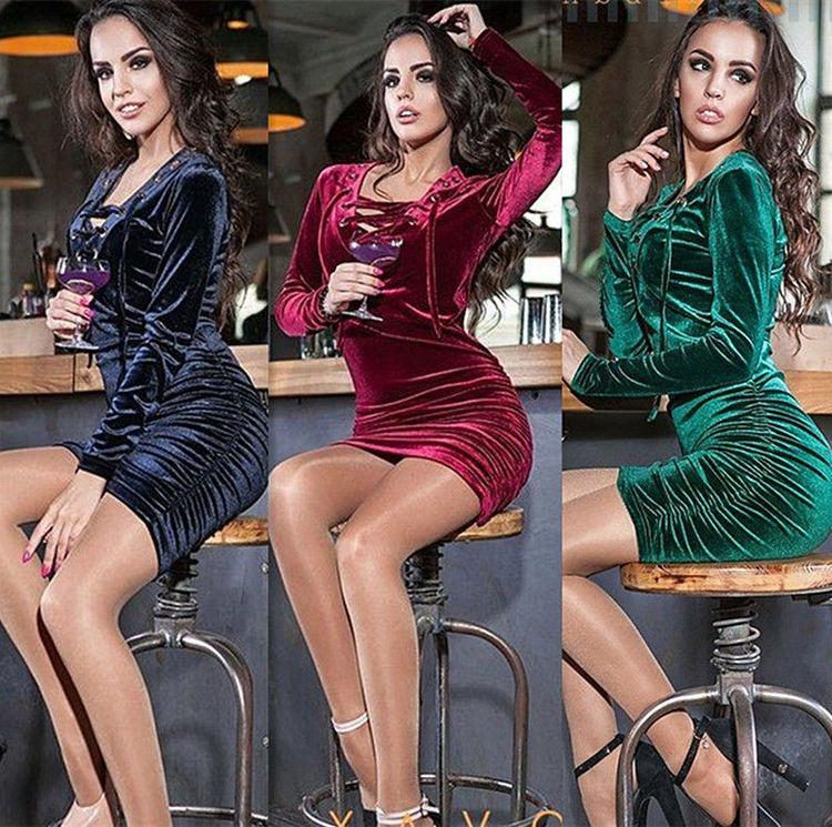 Sexy Long Sleeve Velvet Dress