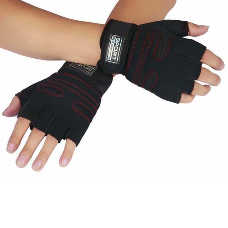 Gym Gloves Wrist Wrap Leather