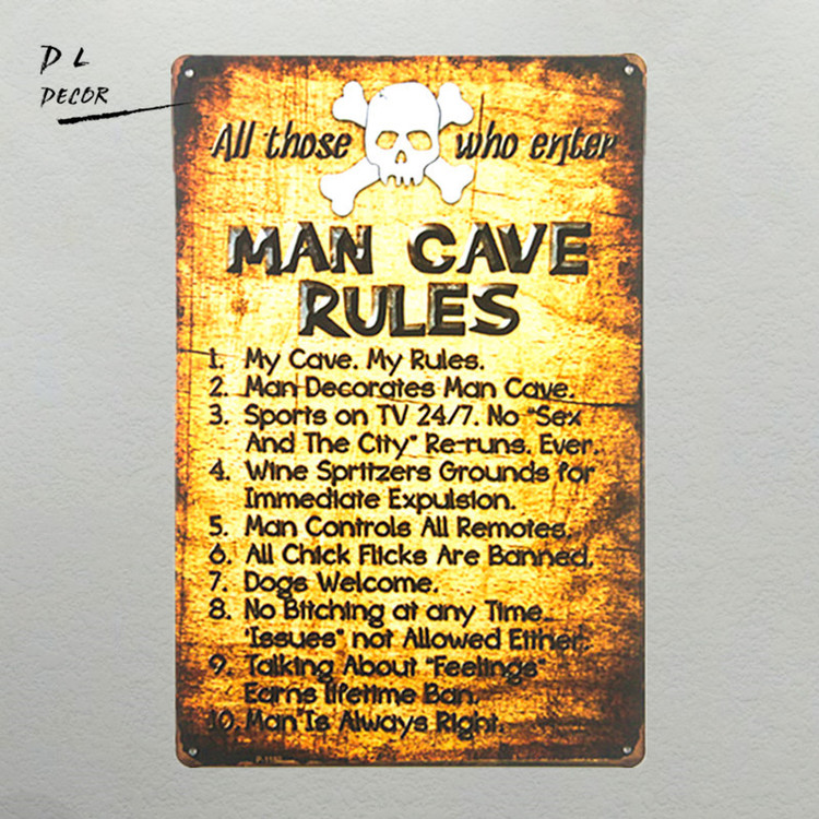 "Home Decor "" Man Cave Rules"""