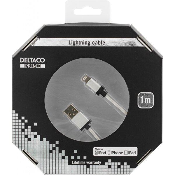 DELTACO PRIME USB - Lightning-kabel, MFi, Tyg,1m, silver