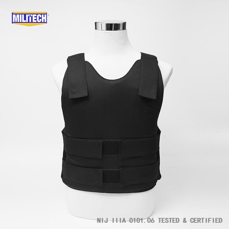 Militech Black NIJ IIIA 3A and Level 1 Stab Concealable Aramid Kevlar Bulletproof Vest Covert Ballistic Bullet Proof Vest