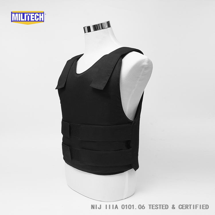 Militech Black NIJ IIIA 3A and Level 1 Stab Concealable Aramid Kevlar Bulletproof Vest Covert Ballistic Bullet Proof Vest