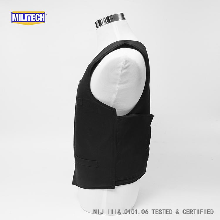 Militech Black VIP Style NIJ IIIA 3A Aramid Kevlar Bulletproof Covert Ballistic Bullet Proof Vest Low Profile Body Armor Vest