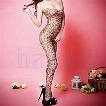 Sexy Women's Open Crotch Leopard Bodystocking