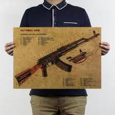 Classic AK47 Drawing Retro Poster