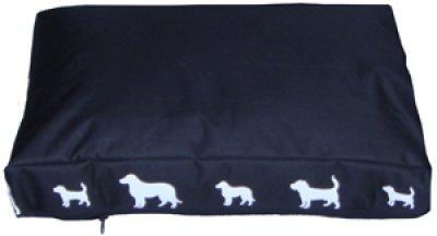 Hundmadrass fyrkant svart med vitt hundavtryck