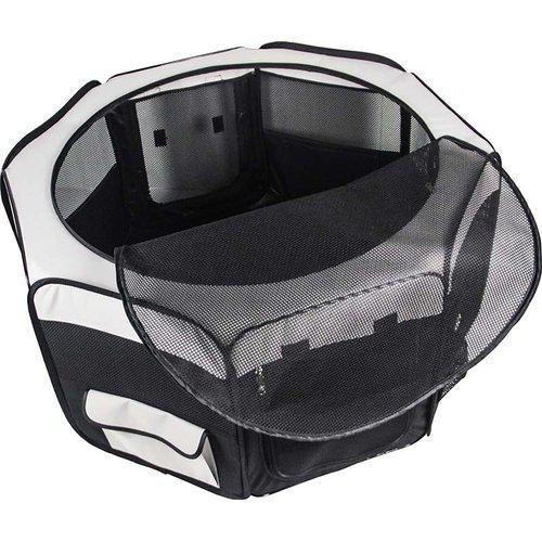 Hundhage nylon rund svart/ grå 92x92x43 cm