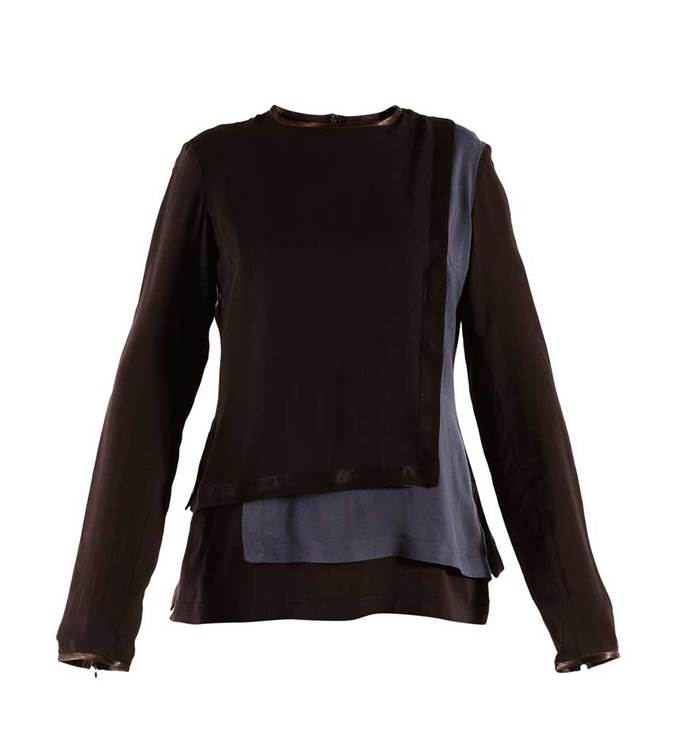 LOLO long sleeve blouse in black and navy blue