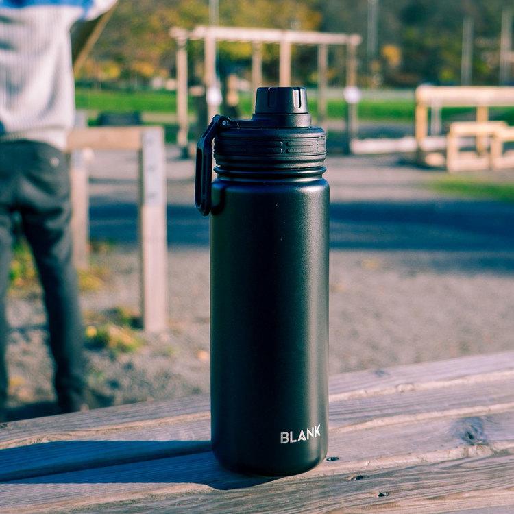 Termosmugg och rostfri vattenflaska i ett – Blank 530 ml Svart