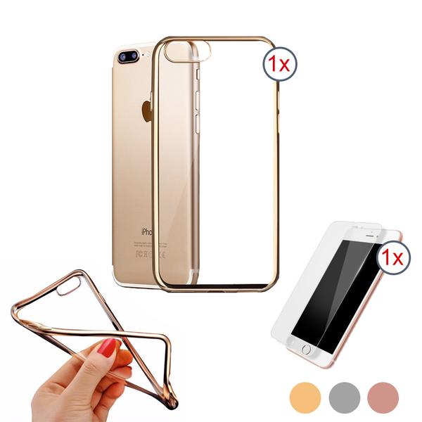 2 i ett - iPhone 7/8  Exklusivt silikonskal med härdat glas
