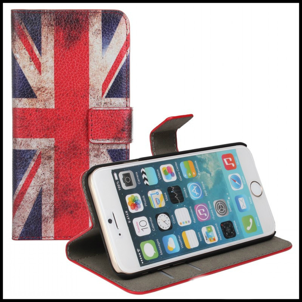 "Läderplånbok iPhone 6/6S/ STATIV"" UK-flagga"