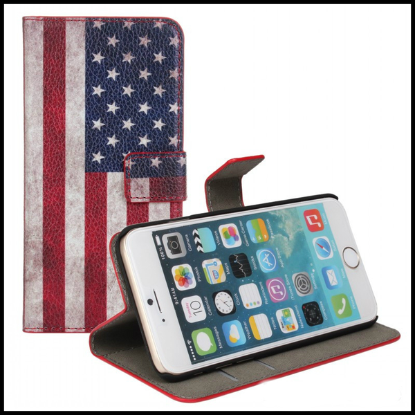 "Läderplånbok iPhone 6/6S/ STATIV"" USA-flagga"